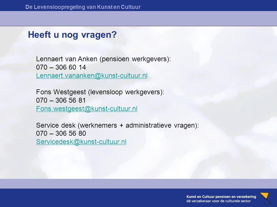 De Levensloopregeling van Kunst en Cultuur Heeft u nog vragen? Lennaert van Anken (pensioen werkgevers): 070 – 306 60 14 Lennaert.vananken@kunst-cultu
