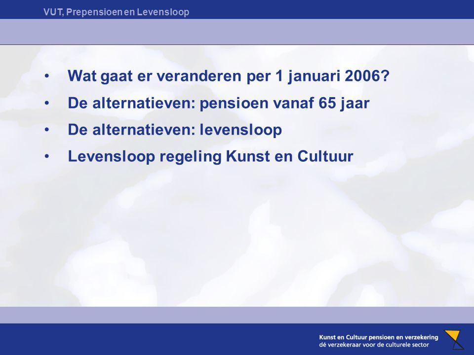 VUT, Prepensioen en Levensloop Wat gaat er veranderen per 1 januari 2006? De alternatieven: pensioen vanaf 65 jaar De alternatieven: levensloop Levens