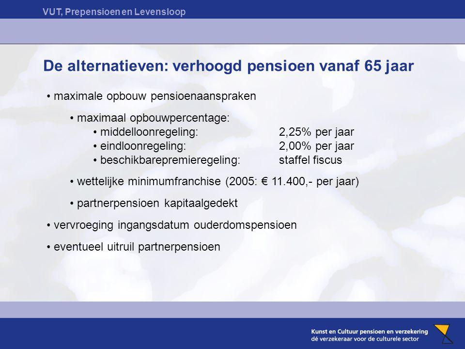 VUT, Prepensioen en Levensloop De alternatieven: verhoogd pensioen vanaf 65 jaar maximale opbouw pensioenaanspraken maximaal opbouwpercentage: middelloonregeling:2,25% per jaar eindloonregeling: 2,00% per jaar beschikbarepremieregeling:staffel fiscus wettelijke minimumfranchise (2005: € 11.400,- per jaar) partnerpensioen kapitaalgedekt vervroeging ingangsdatum ouderdomspensioen eventueel uitruil partnerpensioen