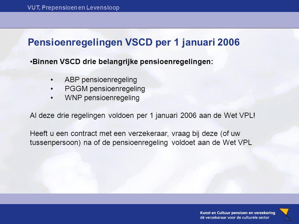 VUT, Prepensioen en Levensloop Pensioenregelingen VSCD per 1 januari 2006 Binnen VSCD drie belangrijke pensioenregelingen: ABP pensioenregeling PGGM pensioenregeling WNP pensioenregeling Al deze drie regelingen voldoen per 1 januari 2006 aan de Wet VPL.