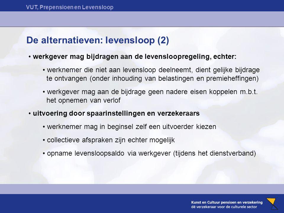 VUT, Prepensioen en Levensloop De alternatieven: levensloop (2) werkgever mag bijdragen aan de levensloopregeling, echter: werknemer die niet aan leve