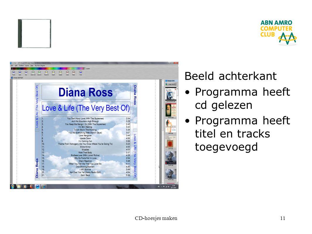 CD-hoesjes maken11 Beeld achterkant Programma heeft cd gelezen Programma heeft titel en tracks toegevoegd