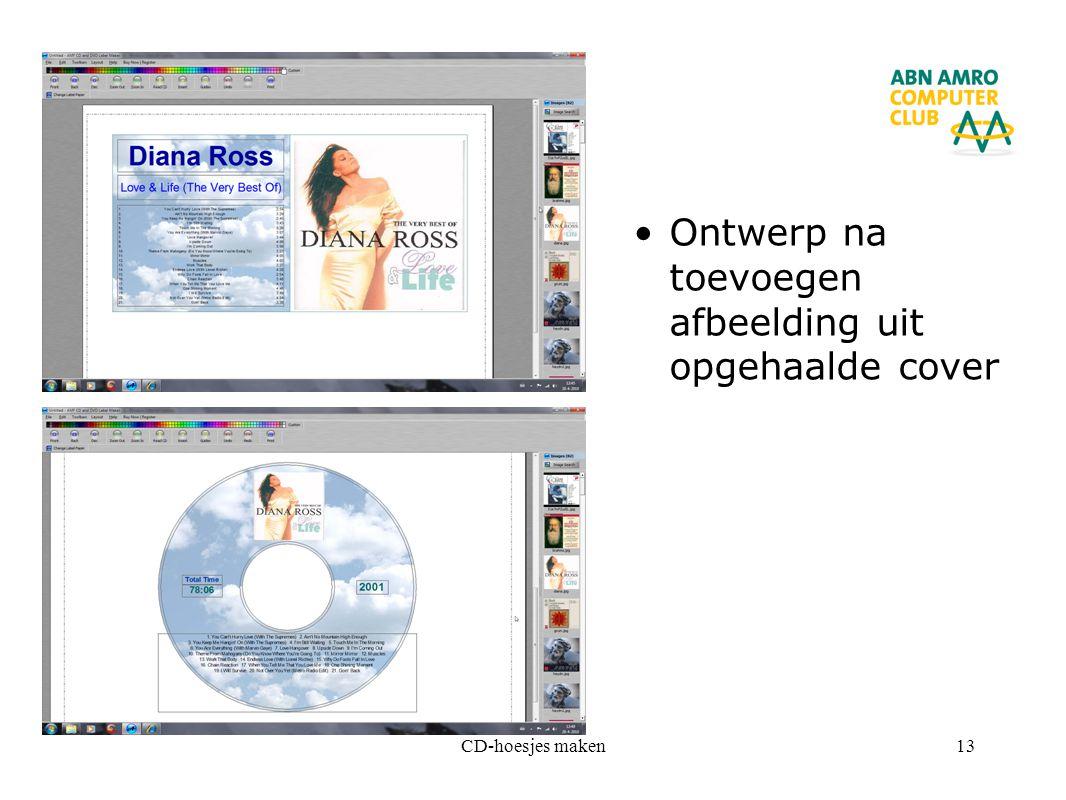 CD-hoesjes maken13 Ontwerp na toevoegen afbeelding uit opgehaalde cover