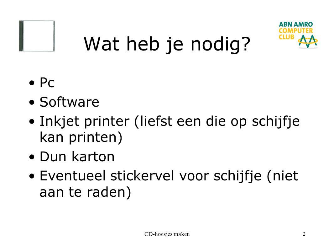 CD-hoesjes maken2 Wat heb je nodig? Pc Software Inkjet printer (liefst een die op schijfje kan printen) Dun karton Eventueel stickervel voor schijfje