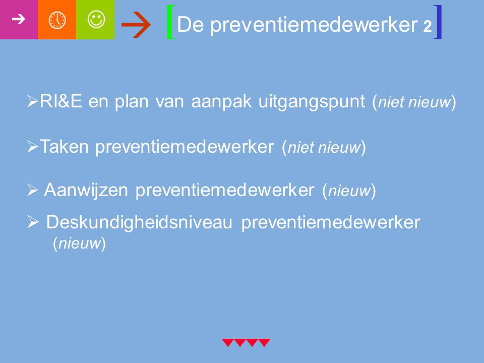 [ De preventiemedewerker 2 ]   RI&E en plan van aanpak uitgangspunt ( niet nieuw )  Taken preventiemedewerker ( niet nieuw )  Aanwijzen preventiemedewerker ( nieuw )  Deskundigheidsniveau preventiemedewerker (nieuw)