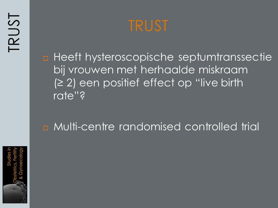 """ Heeft hysteroscopische septumtranssectie bij vrouwen met herhaalde miskraam (≥ 2) een positief effect op """"live birth rate""""?  Multi-centre randomise"""