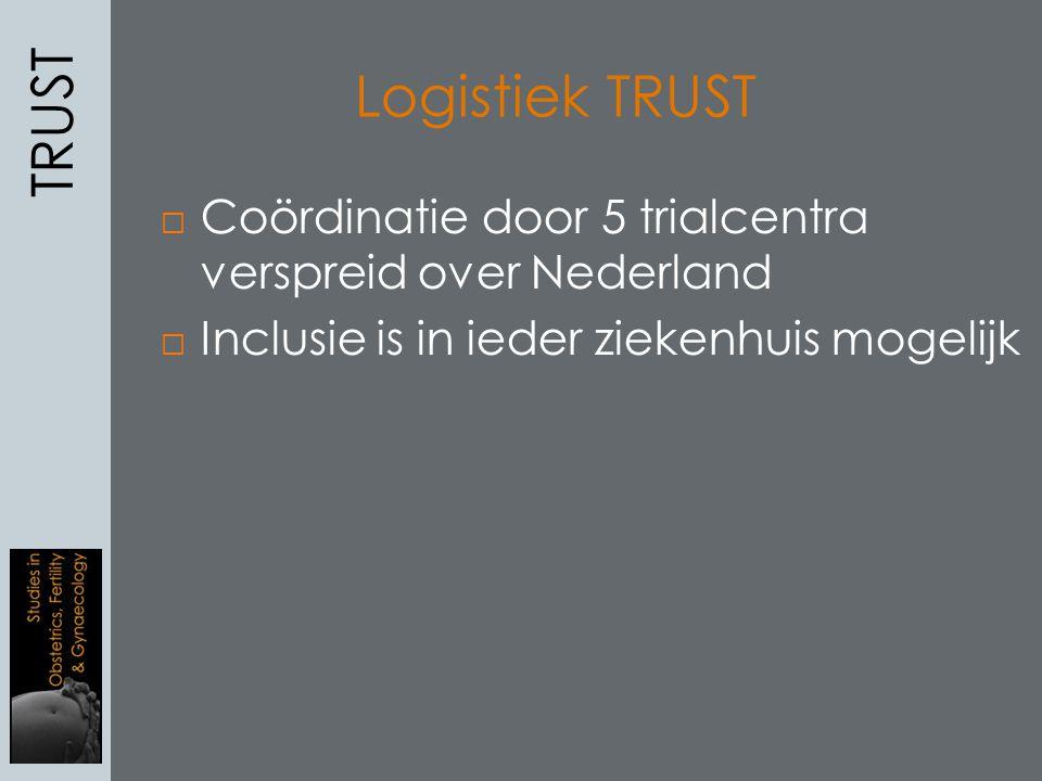 Logistiek TRUST  Coördinatie door 5 trialcentra verspreid over Nederland  Inclusie is in ieder ziekenhuis mogelijk