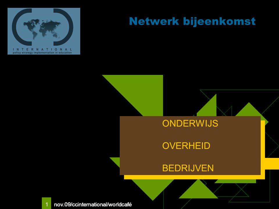 nov.09/ccinternational/worldcafe 1 Netwerk bijeenkomst Logo van uw bedrijf ONDERWIJS OVERHEID BEDRIJVEN ONDERWIJS OVERHEID BEDRIJVEN nov.09/ccinternational/worldcafé