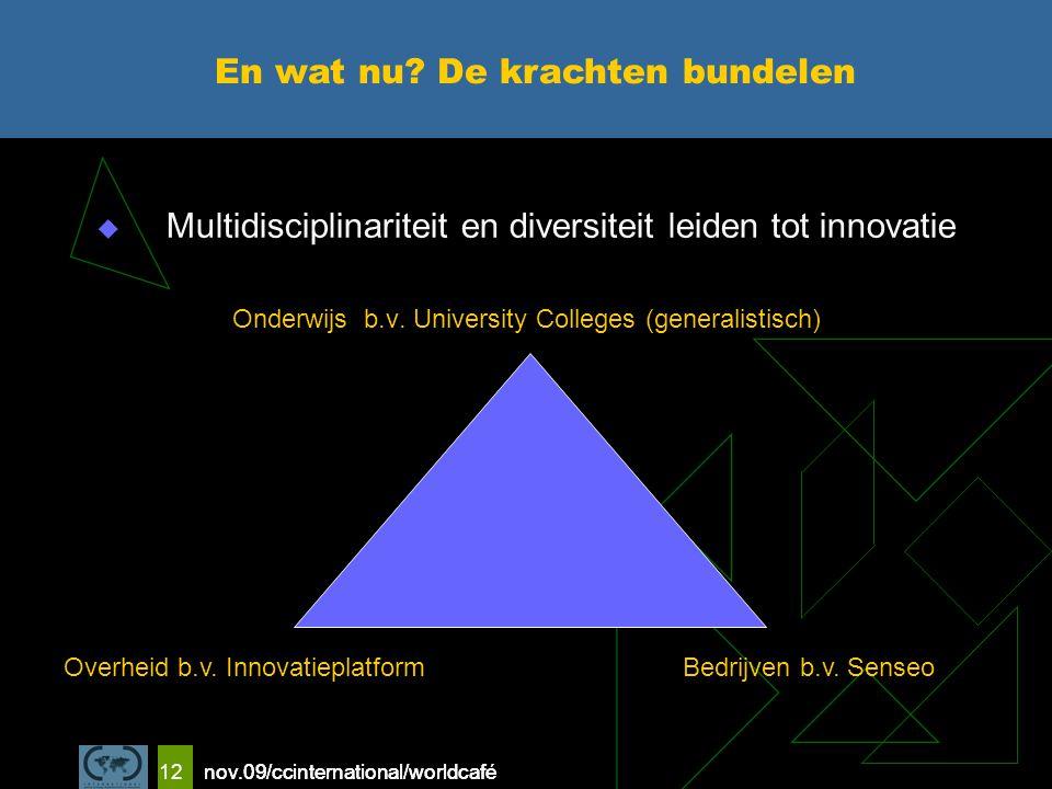 nov.09/ccinternational/worldcafe 12  Multidisciplinariteit en diversiteit leiden tot innovatie Onderwijs b.v.