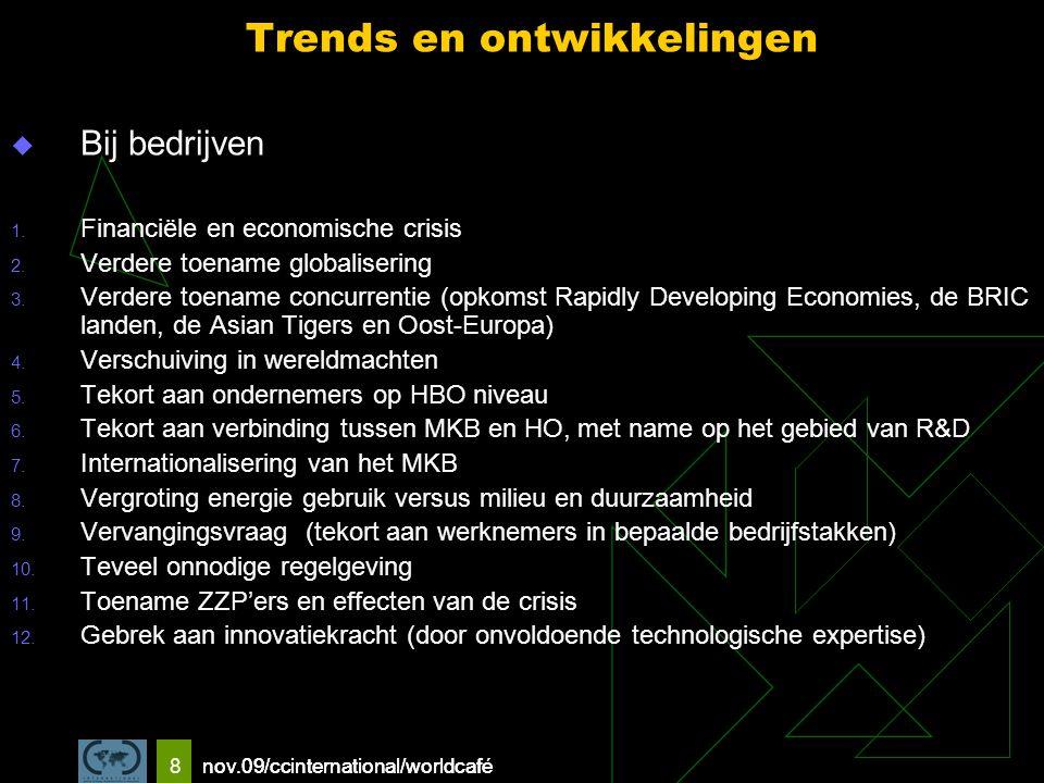 nov.09/ccinternational/worldcafe 8 Trends en ontwikkelingen  Bij bedrijven 1.