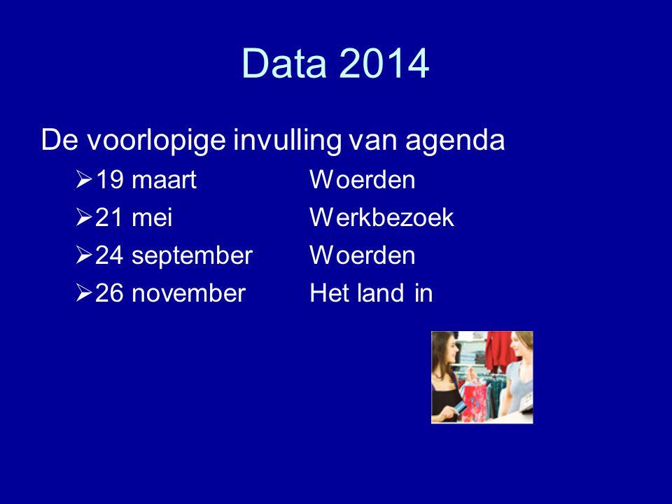 Data 2014 De voorlopige invulling van agenda  19 maartWoerden  21 meiWerkbezoek  24 september Woerden  26 november Het land in