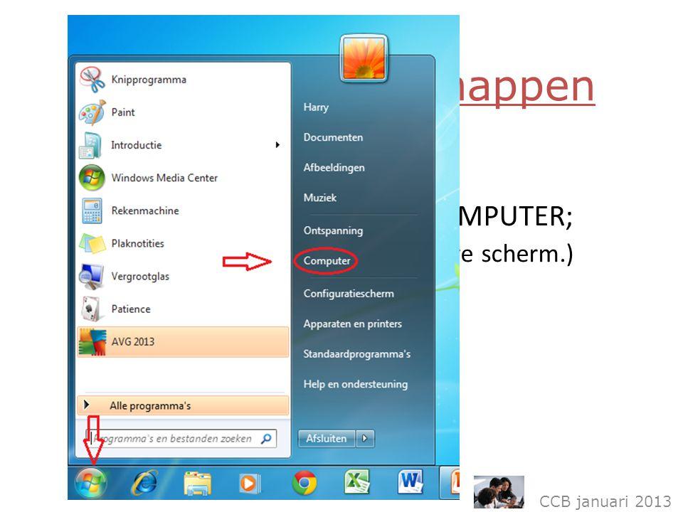CCB januari 2013 Organisatie en mappen Ga via de startknop naar COMPUTER; ( rechts in uw nieuwe scherm.)