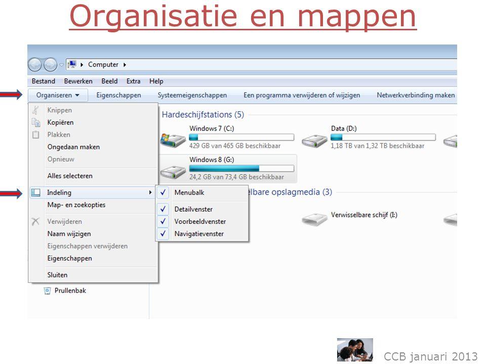 Organisatie en mappen CCB januari 2013
