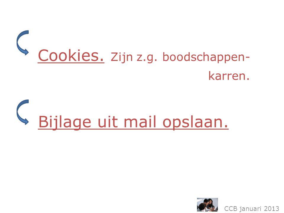 Cookies. Zijn z.g. boodschappen- karren. CCB januari 2013 Bijlage uit mail opslaan.