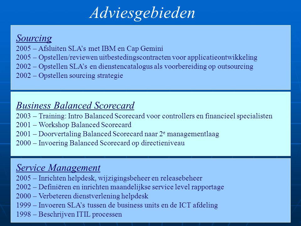 Adviesgebieden Business Balanced Scorecard 2003 – Training: Intro Balanced Scorecard voor controllers en financieel specialisten 2001 – Workshop Balan