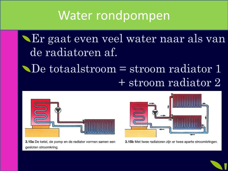 Water rondpompen Er gaat even veel water naar als van de radiatoren af. De totaalstroom = stroom radiator 1 + stroom radiator 2
