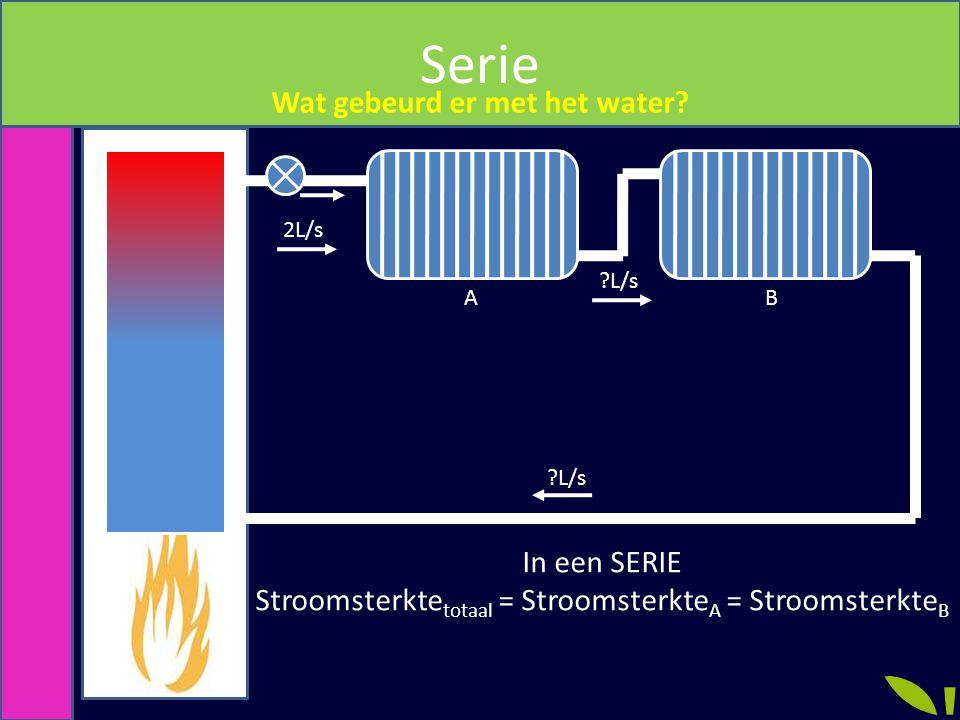 Serie Wat gebeurd er met het water? 2L/s ?L/s AB In een SERIE Stroomsterkte totaal = Stroomsterkte A = Stroomsterkte B