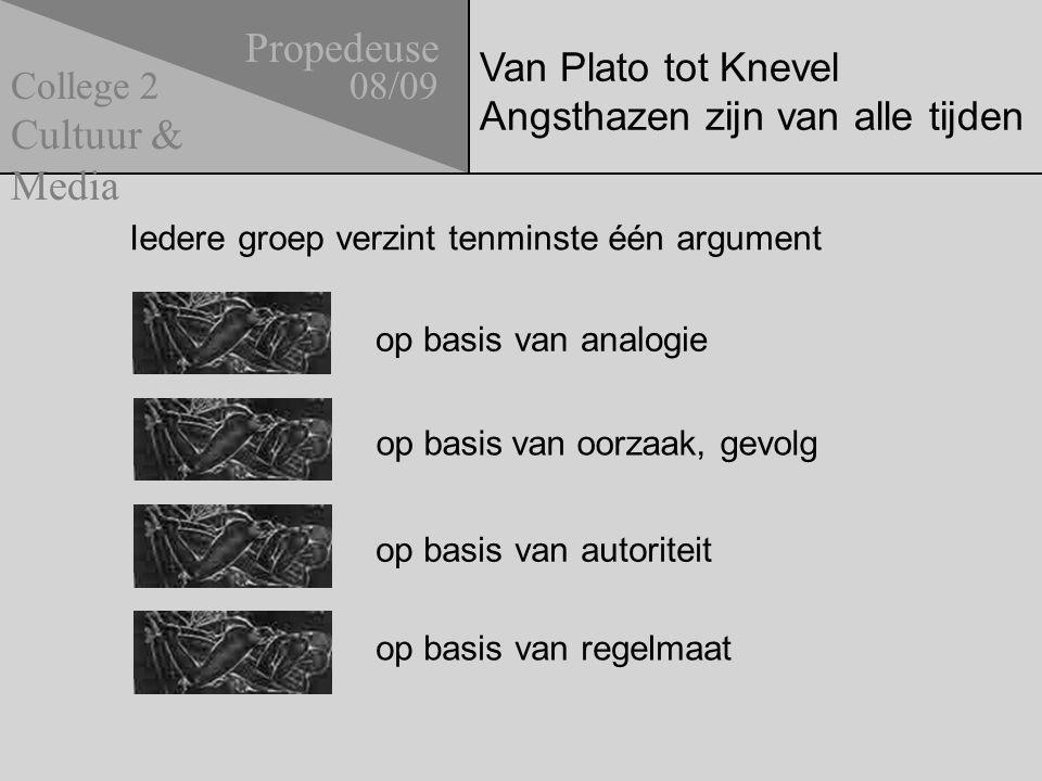 Van Plato tot Knevel Angsthazen zijn van alle tijden Propedeuse 08/09 Cultuur & Media College 2 op basis van analogie op basis van autoriteit op basis