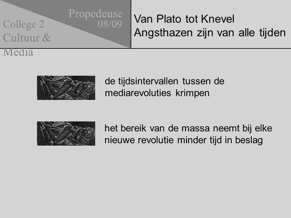 Van Plato tot Knevel Angsthazen zijn van alle tijden Propedeuse 08/09 Cultuur & Media College 2 de tijdsintervallen tussen de mediarevoluties krimpen