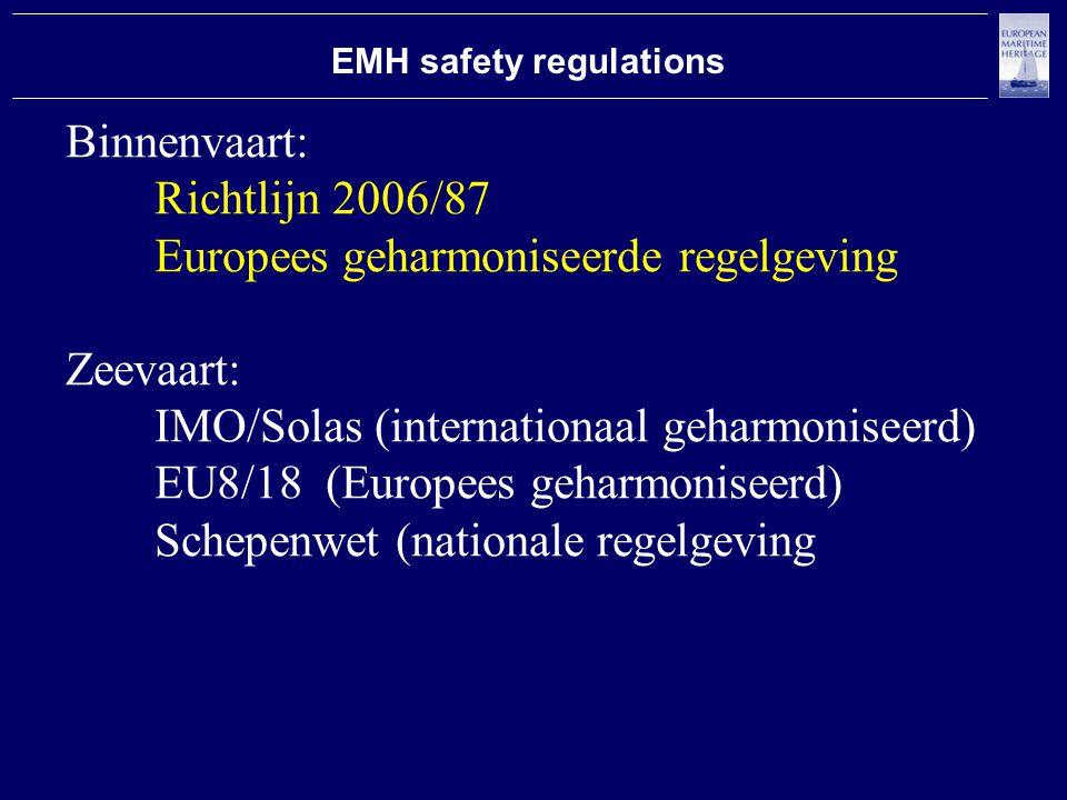 EMH safety regulations Binnenvaart: Richtlijn 2006/87 Europees geharmoniseerde regelgeving Zeevaart: IMO/Solas (internationaal geharmoniseerd) EU8/18 (Europees geharmoniseerd) Schepenwet (nationale regelgeving