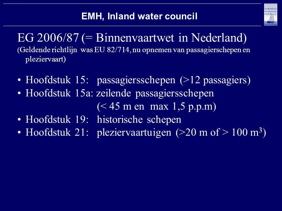 EMH, Inland water council EG 2006/87 (= Binnenvaartwet in Nederland) ( Geldende richtlijn was EU 82/714, nu opnemen van passagierschepen en pleziervaart) Hoofdstuk 15: passagiersschepen (>12 passagiers) Hoofdstuk 15a: zeilende passagiersschepen (< 45 m en max 1,5 p.p.m) Hoofdstuk 19: historische schepen Hoofdstuk 21: pleziervaartuigen (>20 m of > 100 m 3 )