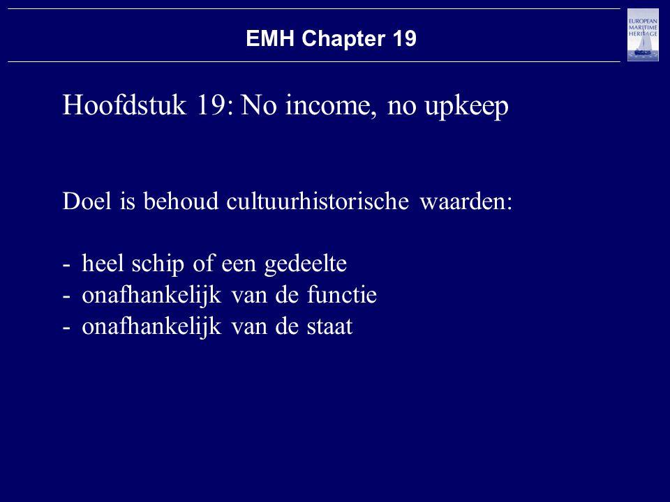 Hoofdstuk 19: No income, no upkeep Doel is behoud cultuurhistorische waarden: -heel schip of een gedeelte -onafhankelijk van de functie -onafhankelijk van de staat EMH Chapter 19