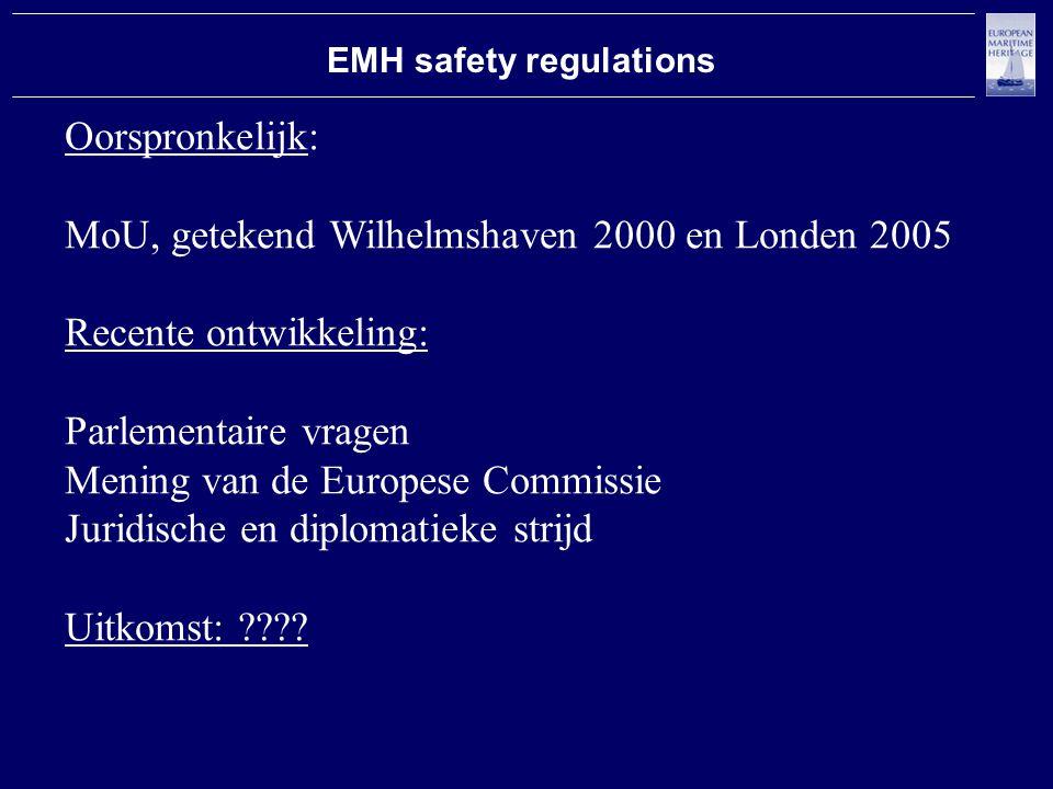 EMH safety regulations Oorspronkelijk: MoU, getekend Wilhelmshaven 2000 en Londen 2005 Recente ontwikkeling: Parlementaire vragen Mening van de Europese Commissie Juridische en diplomatieke strijd Uitkomst: