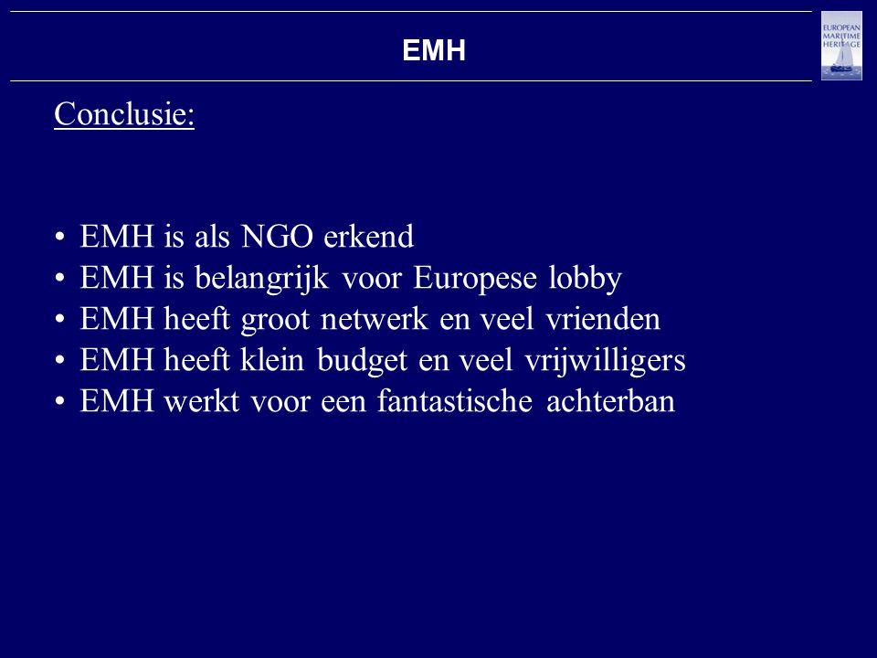 EMH Conclusie: EMH is als NGO erkend EMH is belangrijk voor Europese lobby EMH heeft groot netwerk en veel vrienden EMH heeft klein budget en veel vrijwilligers EMH werkt voor een fantastische achterban
