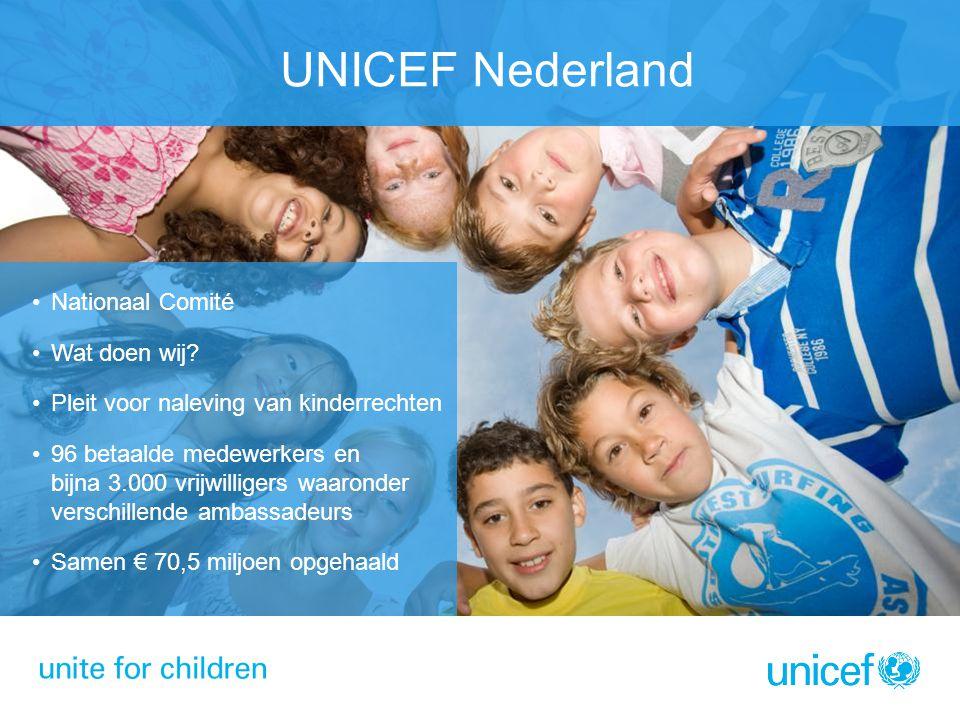 UNICEF Nederland Nationaal Comité Wat doen wij? Pleit voor naleving van kinderrechten 96 betaalde medewerkers en bijna 3.000 vrijwilligers waaronder v