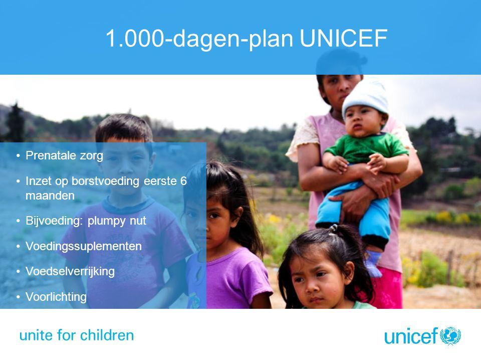 1.000-dagen-plan UNICEF Prenatale zorg Inzet op borstvoeding eerste 6 maanden Bijvoeding: plumpy nut Voedingssuplementen Voedselverrijking Voorlichting