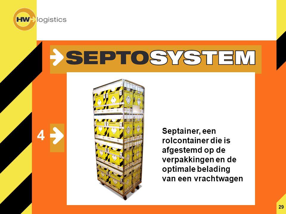 29 4 Septainer, een rolcontainer die is afgestemd op de verpakkingen en de optimale belading van een vrachtwagen