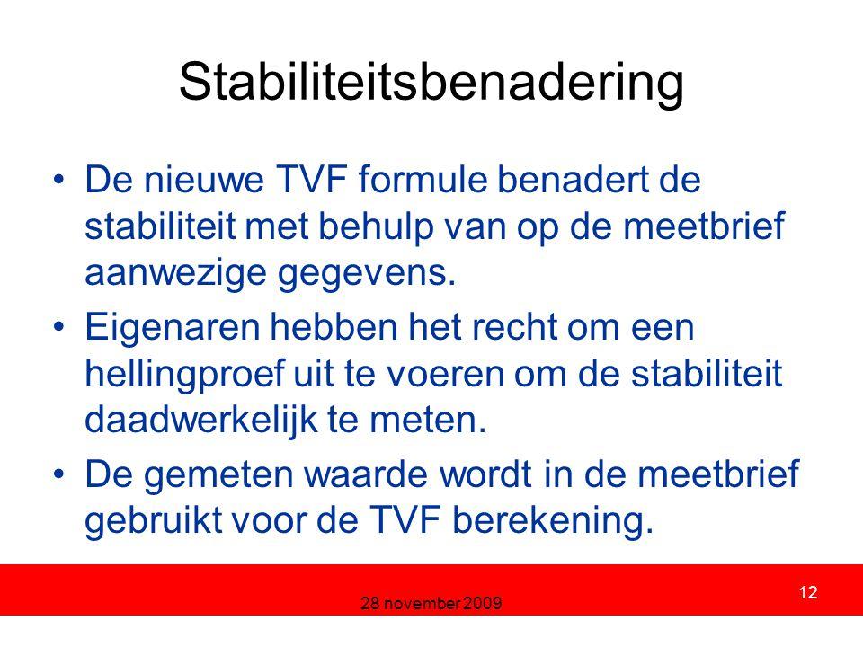 28 november 2009 12 Stabiliteitsbenadering De nieuwe TVF formule benadert de stabiliteit met behulp van op de meetbrief aanwezige gegevens.