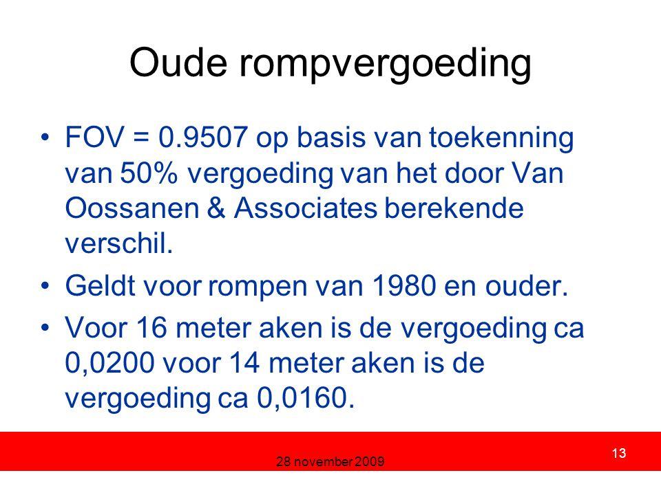 28 november 2009 13 Oude rompvergoeding FOV = 0.9507 op basis van toekenning van 50% vergoeding van het door Van Oossanen & Associates berekende verschil.