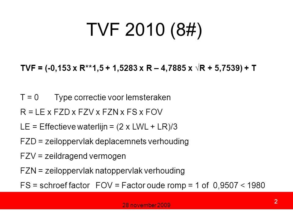 28 november 2009 2 TVF 2010 (8#) TVF = (-0,153 x R**1,5 + 1,5283 x R – 4,7885 x √R + 5,7539) + T T = 0 Type correctie voor lemsteraken R = LE x FZD x FZV x FZN x FS x FOV LE = Effectieve waterlijn = (2 x LWL + LR)/3 FZD = zeiloppervlak deplacemnets verhouding FZV = zeildragend vermogen FZN = zeiloppervlak natoppervlak verhouding FS = schroef factor FOV = Factor oude romp = 1 of 0,9507 < 1980