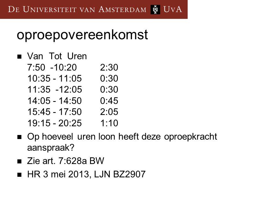 oproepovereenkomst Van Tot Uren 7:50 -10:20 2:30 10:35 - 11:05 0:30 11:35 -12:05 0:30 14:05 - 14:50 0:45 15:45 - 17:50 2:05 19:15 - 20:25 1:10 Op hoeveel uren loon heeft deze oproepkracht aanspraak.