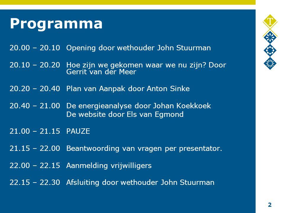 2 Programma 20.00 – 20.10Opening door wethouder John Stuurman 20.10 – 20.20Hoe zijn we gekomen waar we nu zijn.