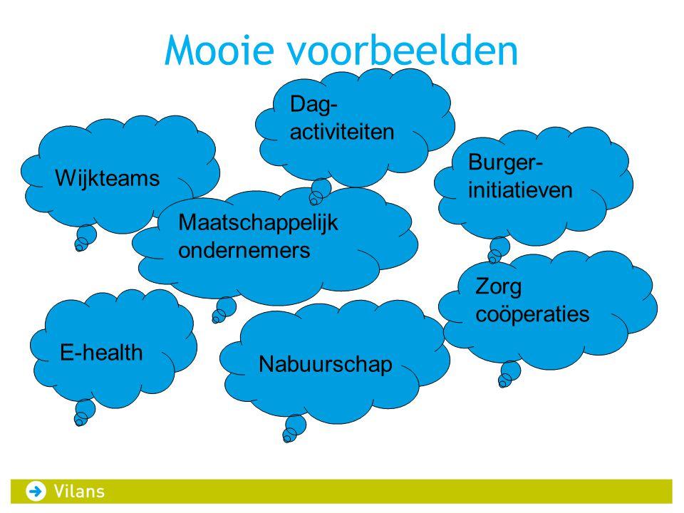 Mooie voorbeelden Wijkteams Maatschappelijk ondernemers Dag- activiteiten Nabuurschap E-health Zorg coöperaties Burger- initiatieven