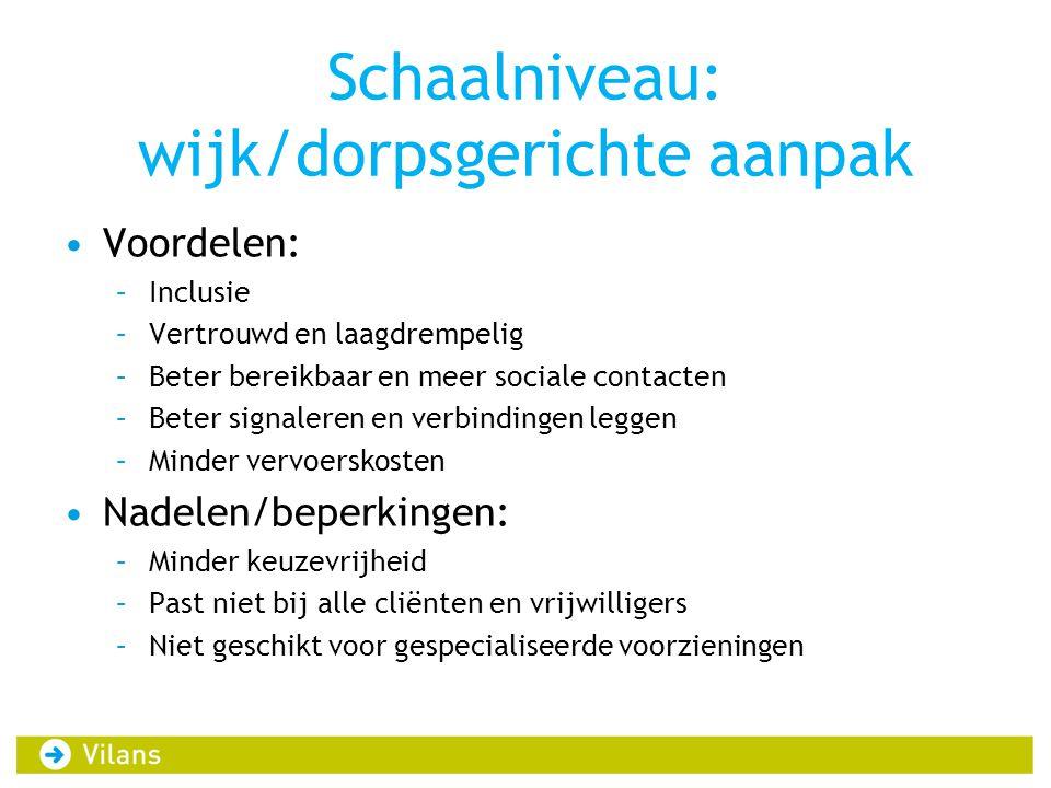 Schaalniveau: wijk/dorpsgerichte aanpak Voordelen: –Inclusie –Vertrouwd en laagdrempelig –Beter bereikbaar en meer sociale contacten –Beter signaleren