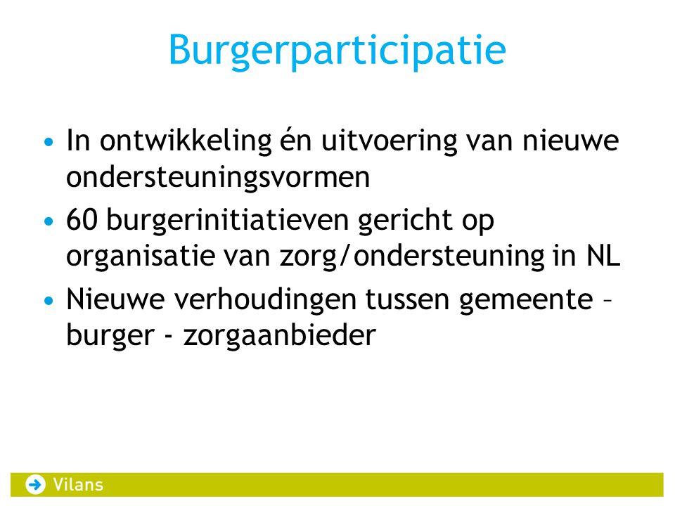 Burgerparticipatie In ontwikkeling én uitvoering van nieuwe ondersteuningsvormen 60 burgerinitiatieven gericht op organisatie van zorg/ondersteuning i