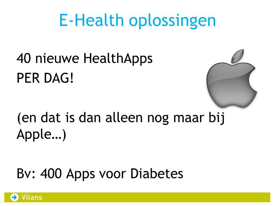 E-Health oplossingen 40 nieuwe HealthApps PER DAG! (en dat is dan alleen nog maar bij Apple…) Bv: 400 Apps voor Diabetes