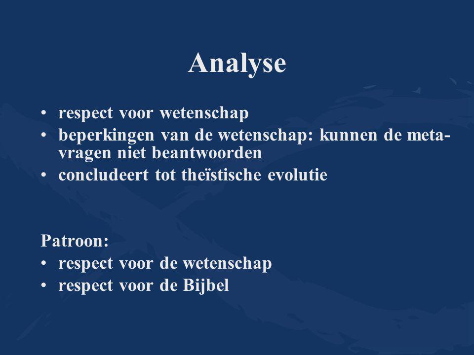 Analyse respect voor wetenschap beperkingen van de wetenschap: kunnen de meta- vragen niet beantwoorden concludeert tot theïstische evolutie Patroon: respect voor de wetenschap respect voor de Bijbel