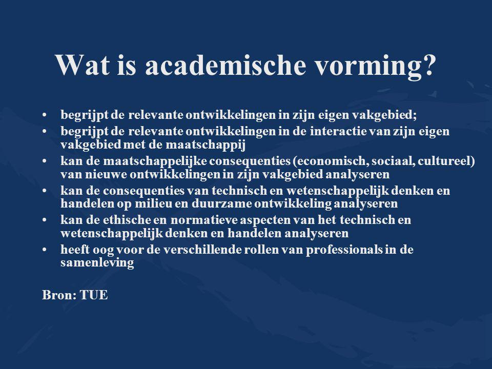 Wat is academische vorming? begrijpt de relevante ontwikkelingen in zijn eigen vakgebied; begrijpt de relevante ontwikkelingen in de interactie van zi