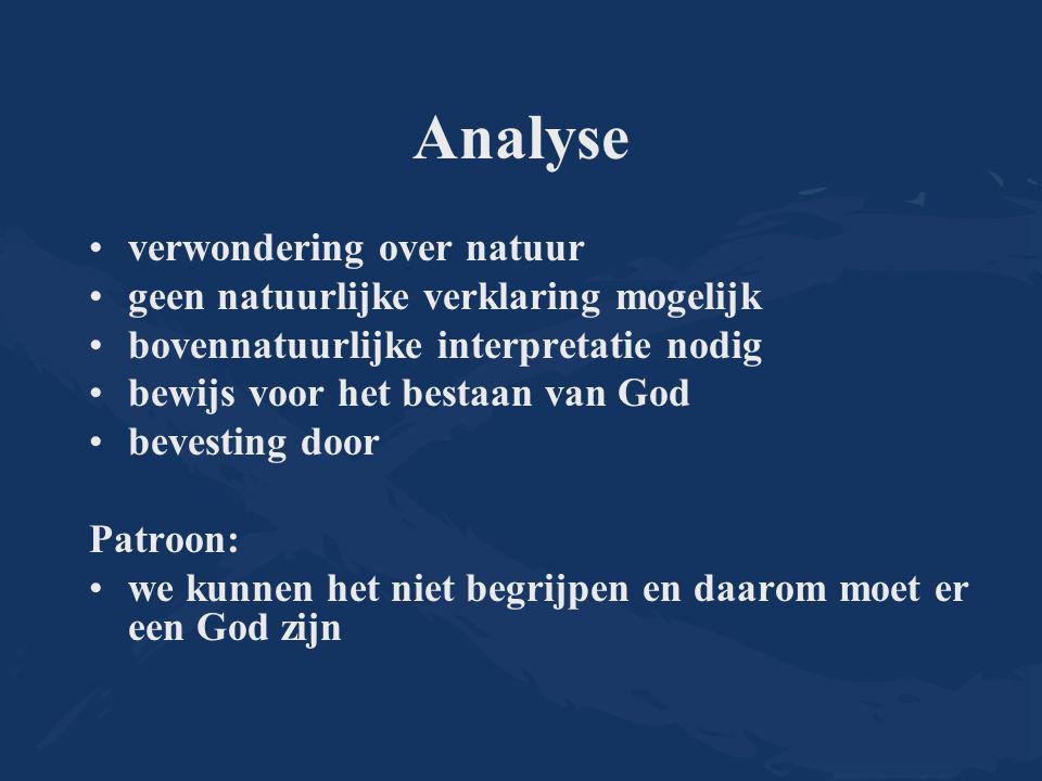 Analyse verwondering over natuur geen natuurlijke verklaring mogelijk bovennatuurlijke interpretatie nodig bewijs voor het bestaan van God bevesting door Patroon: we kunnen het niet begrijpen en daarom moet er een God zijn