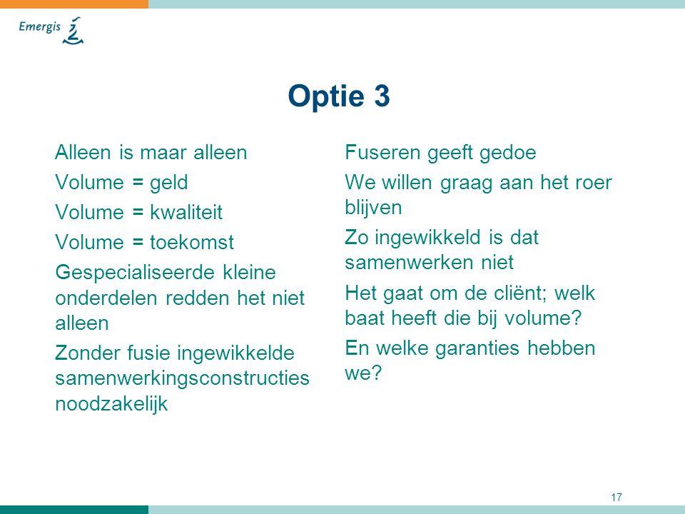 17 Optie 3 Alleen is maar alleen Volume = geld Volume = kwaliteit Volume = toekomst Gespecialiseerde kleine onderdelen redden het niet alleen Zonder f
