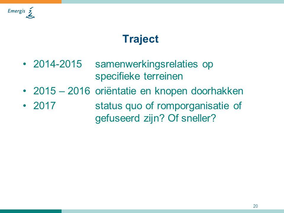 20 Traject 2014-2015samenwerkingsrelaties op specifieke terreinen 2015 – 2016oriëntatie en knopen doorhakken 2017 status quo of romporganisatie of gef