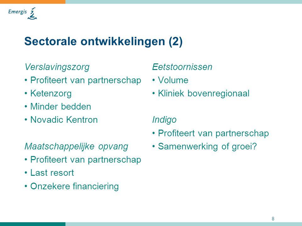 8 Sectorale ontwikkelingen (2) Verslavingszorg Profiteert van partnerschap Ketenzorg Minder bedden Novadic Kentron Maatschappelijke opvang Profiteert
