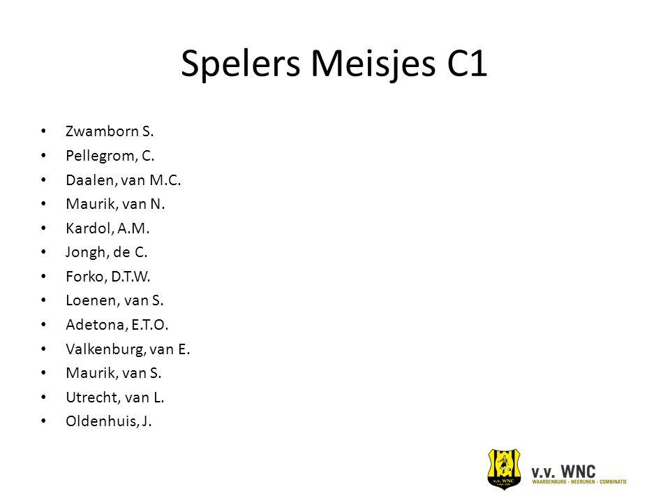 Spelers Meisjes C1 Zwamborn S. Pellegrom, C. Daalen, van M.C. Maurik, van N. Kardol, A.M. Jongh, de C. Forko, D.T.W. Loenen, van S. Adetona, E.T.O. Va