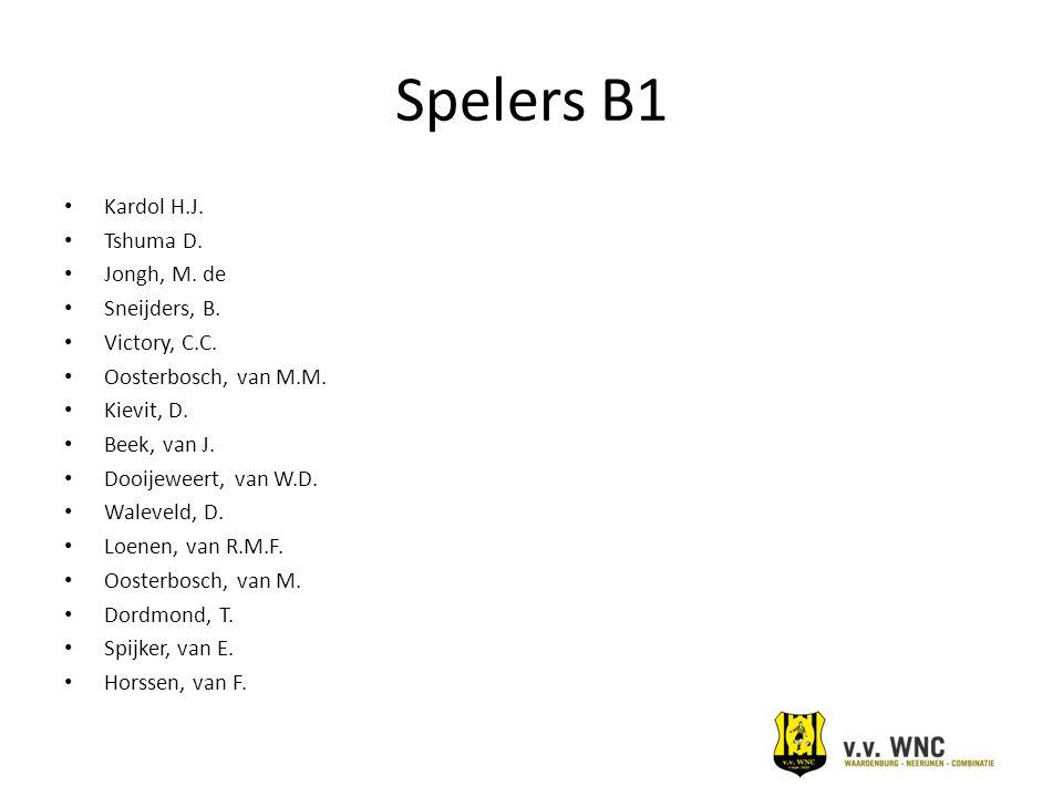 Spelers B1 Kardol H.J. Tshuma D. Jongh, M. de Sneijders, B. Victory, C.C. Oosterbosch, van M.M. Kievit, D. Beek, van J. Dooijeweert, van W.D. Waleveld