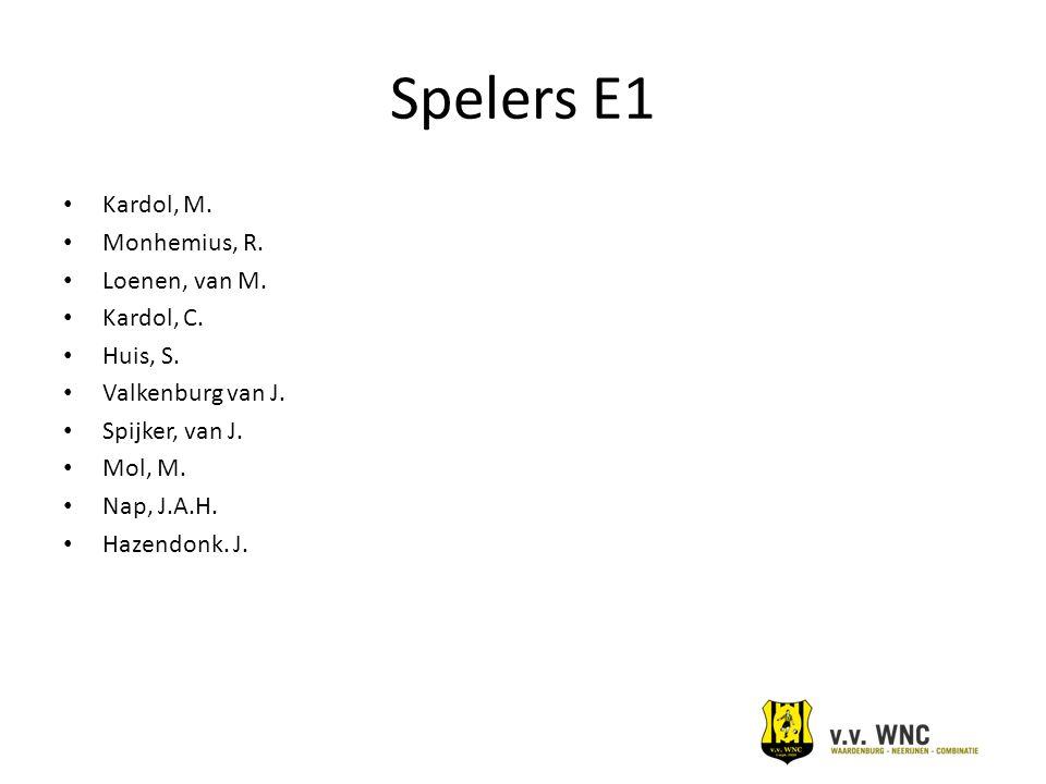 Spelers E1 Kardol, M. Monhemius, R. Loenen, van M. Kardol, C. Huis, S. Valkenburg van J. Spijker, van J. Mol, M. Nap, J.A.H. Hazendonk. J.