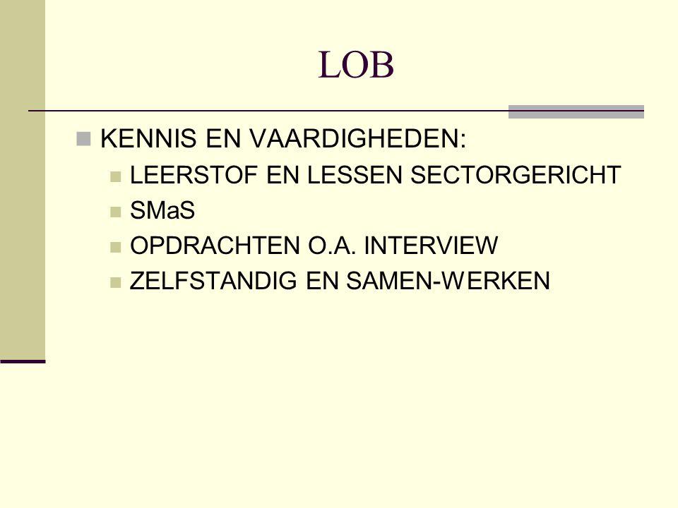LOB KENNIS EN VAARDIGHEDEN: LEERSTOF EN LESSEN SECTORGERICHT SMaS OPDRACHTEN O.A. INTERVIEW ZELFSTANDIG EN SAMEN-WERKEN